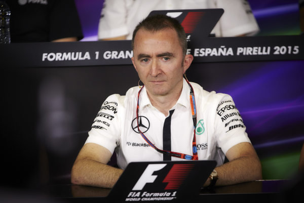 Circuit de Catalunya, Barcelona, Spain. Friday 8 May 2015. Paddy Lowe, Executive Director (Technical), Mercedes AMG, in the team principals Press Conference. World Copyright: Steve Etherington/LAT Photographic. ref: Digital Image SNE19948