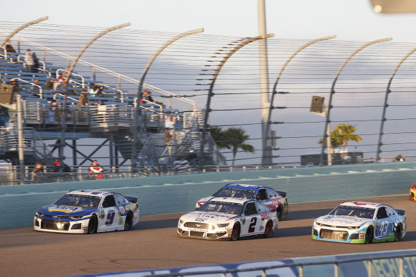 #2: Brad Keselowski, Team Penske, Ford Mustang Discount Tire #9: Chase Elliott, Hendrick Motorsports, Chevrolet Camaro NAPA AUTO PARTS #43: Darrell Wallace Jr., Richard Petty Motorsports, Chevrolet Camaro Victory Junction