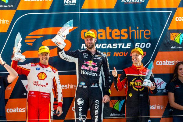 Scott McLaughlin, DJR Team Penske Ford, Shane van Gisbergen, Triple Eight Race Engineering Holden, David Reynolds, Erebus Motorsport Holden