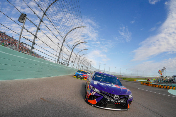 #11: Denny Hamlin, Joe Gibbs Racing, Toyota Camry FedEx Express, #18: Kyle Busch, Joe Gibbs Racing, Toyota Camry M&M's