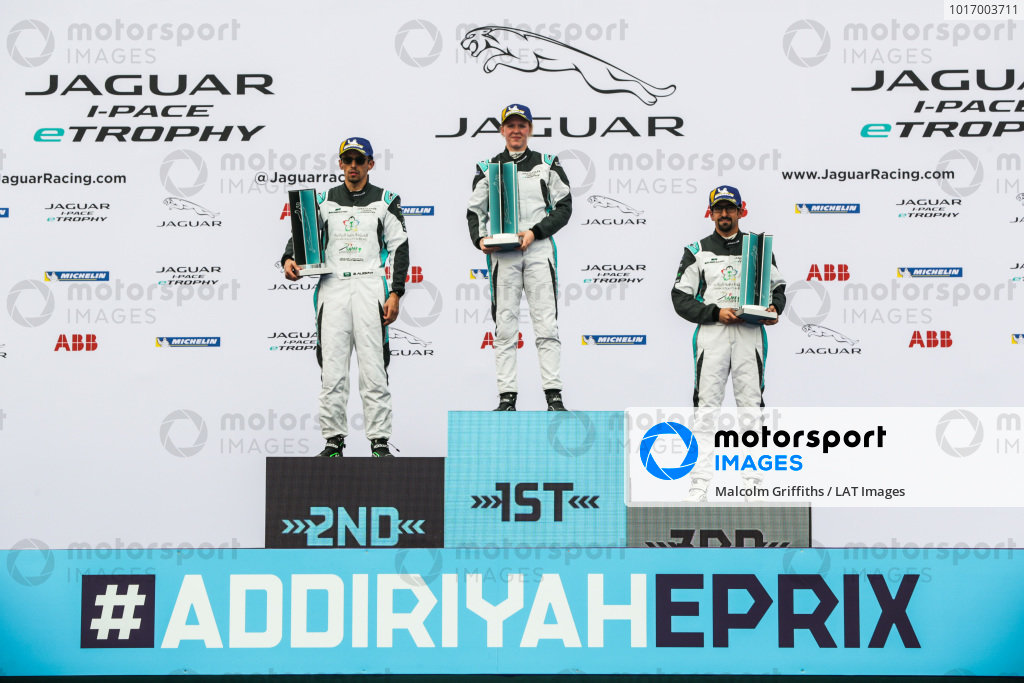 The AM class podium: winner Alice Powell (GBR), Jaguar VIP car, 2nd position Bandar Alesayi (SAU), Saudi Racing and 3rd position Ahmed Bin Khanen (SAU), Saudi Racing