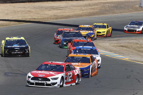 #12: Ryan Blaney, Team Penske, Ford Mustang DEX Imaging and #22: Joey Logano, Team Penske, Ford Mustang Autotrader