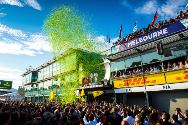 Podium celebrations at Formula One World Championship, Rd1, Australian Grand Prix, Race, Albert Park, Melbourne, Australia, Sunday 26 March 2017.