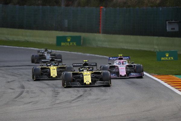 Nico Hulkenberg, Renault R.S. 19, leads Daniel Ricciardo, Renault R.S.19, and Lance Stroll, Racing Point RP19