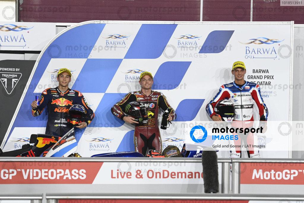 Top 3, Sam Lowes, Marc VDS Racing Team, Raul Fernandez, Red Bull KTM Ajo, Bo Bendsneydar parc ferme.