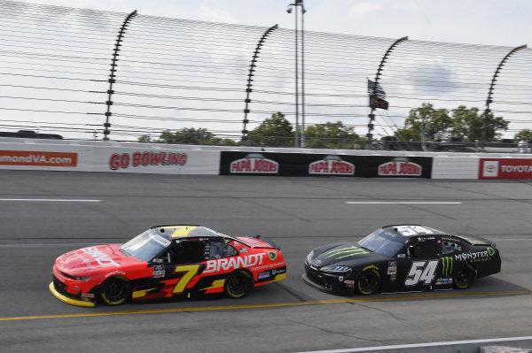 #7: Justin Allgaier, JR Motorsports, Chevrolet Camaro BRANDT, #54: Ty Gibbs, Joe Gibbs Racing, Toyota Supra Joe Gibbs Racing