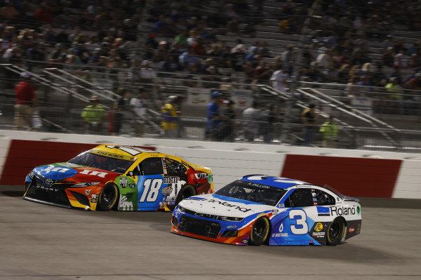 #18: Kyle Busch, Joe Gibbs Racing, Toyota Camry M&M's, #3: Austin Dillon, Richard Childress Racing, Chevrolet Camaro Roland