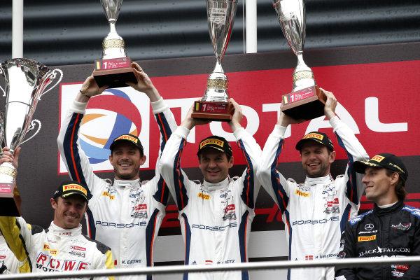 Podium: Winners #20 GPX Racing Porsche 911 GT3 R: Kevin Estre, Michael Christensen, Richard Lietz.