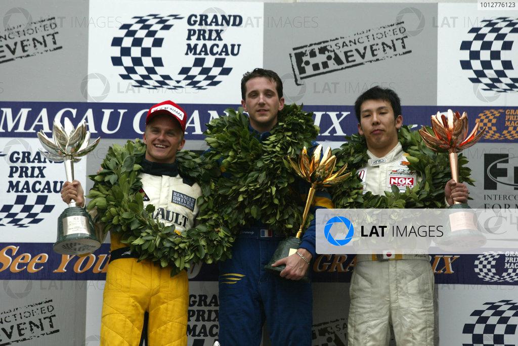 2002 Macau Grand PrixTristan Gommendy1st, Heikki Kovalainen 2nd and Takkashi Kogure 3rd.Circuit de Guia, Macau.15-17th November 2002.World Copyright: Spinney/LAT Photographic.Ref.:11mb Digital Image Only.