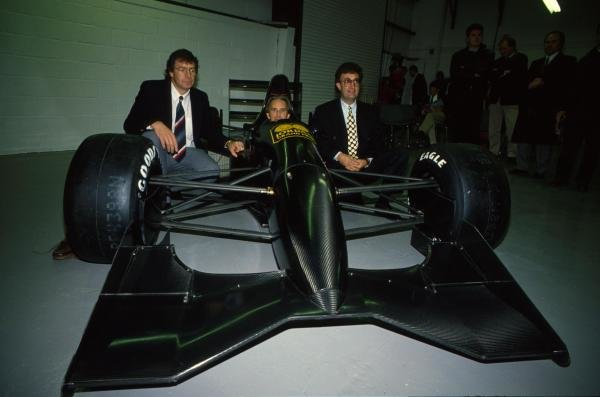 L-R: Gary Anderson (IRL), John Watson (GBR), Eddie Jordan (IRL) Jordan 191 Team Launch  Formula One Testing, Silverstone, England, 27-29 November 1990