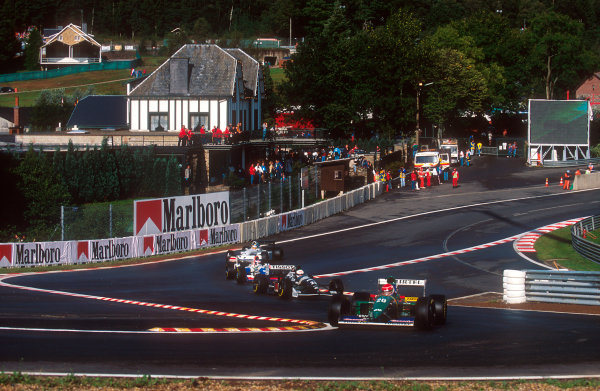 1994 Belgian Grand Prix.Spa-Francorchamps, Belgian.26-28 August 1994.Erik Comas (Larrousse LH94 Ford), Andrea de Cesaris (Sauber C13 Mercedes), Gianni Morbidelli (Footwork FA15 Ford) and Mark Blundell (Tyrrell 022 Yamaha) at the reformed Eau Rouge.Ref-94 BEL 14.World Copyright - LAT Photographic