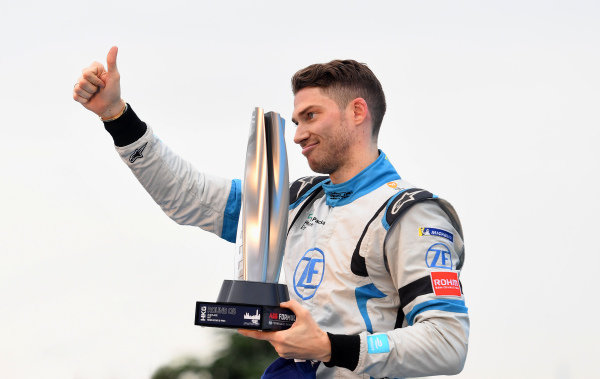 Edoardo Mortara (CHE) Venturi Formula E celebrates 2nd position on the podium