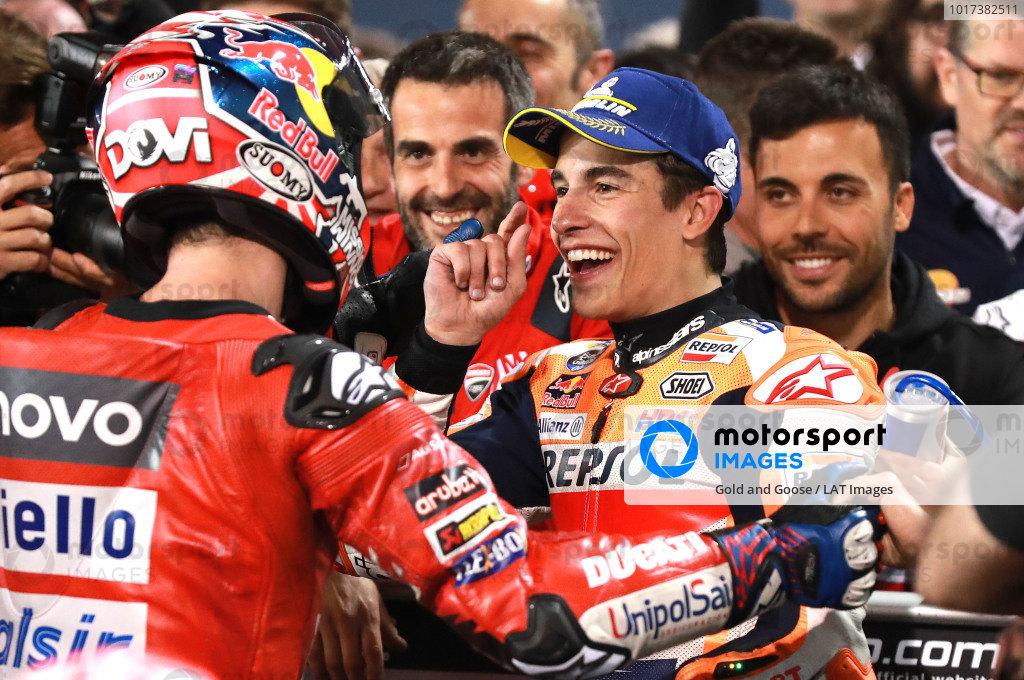 Andrea Dovizioso, Ducati Team, Marc Marquez, Repsol Honda Team in Parc ferme.
