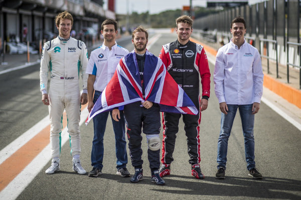 British FIA ABB Formula E drivers Oliver Turvey (GBR), NIO 333, Alexander Sims (GBR) BMW I Andretti Motorsports, Sam Bird (GBR), Envision Virgin Racing, Oliver Rowland (GBR), Nissan e.Dams, and James Calado (GBR), Panasonic Jaguar Racing