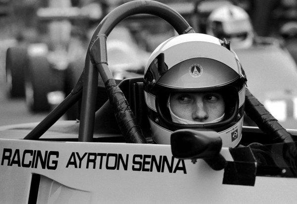 Race winner Ayrton Senna (BRA) sits in the Rushen Green Racing Van Diemen RF82. British Formula Ford 2000 Championship, Oulton Park, England, 27 March 1982.