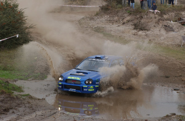 World Rally Championship, Rally of Argentina, May 16-19, 2002.Petter Solberg splashes through water on stage 7.Photo: Ralph Hardwick/LAT