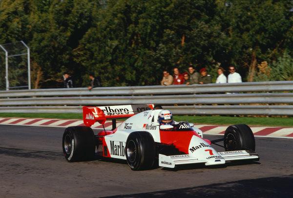 1984 Portuguese Grand Prix.Estoril, Portugal.19-21 October 1984.Alain Prost (McLaren MP4/2 TAG Porsche) 1st position.Ref-84 POR 31.World Copyright - LAT Photographic