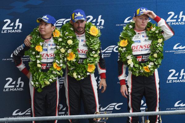 Second place overall #7 Toyota Gazoo Racing Toyota TS050: Mike Conway, Kamui Kobayashi, Jose Maria Lopez
