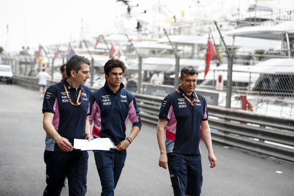 Lance Stroll, Racing Point walks the track