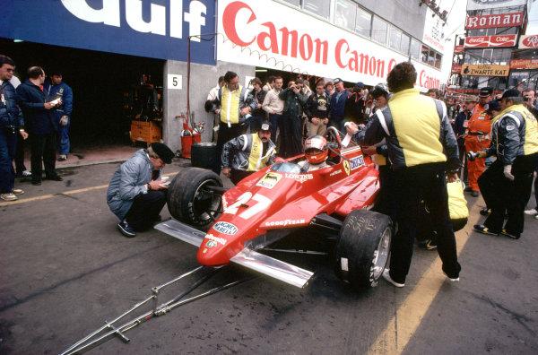1982 Belgian Grand Prix.Zolder, Belgium.7-9 May 1982.Gilles Villeneuve (Ferrari 126C2) takes a pitstop during practise.Ref-82 BEL 31.World Copyright - LAT Photographic