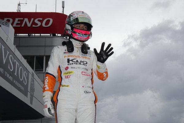 Winner Sho Tsuboi , Corolla Chukyo Kuo Team TOM'S Dallara F317 Toyota, celebrates in parc ferme.