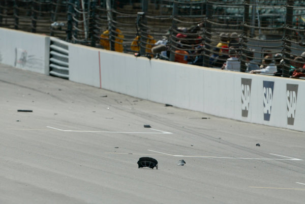 2002 American Grand Prix - Friday PracticeIndianapolis, USA. 27th September 2002The debris after Rubens Barrichello's accident.World Copyright - LAT Photographicref: Digital File Only