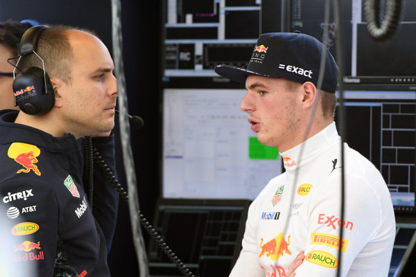 Max Verstappen (NED) Red Bull Racing with Gianpiero Lambiase (ITA) Red Bull Racing Race Engineer at Formula One World Championship, Rd17, United States Grand Prix, Practice, Circuit of the Americas, Austin, Texas, USA, Friday 20 October 2017.