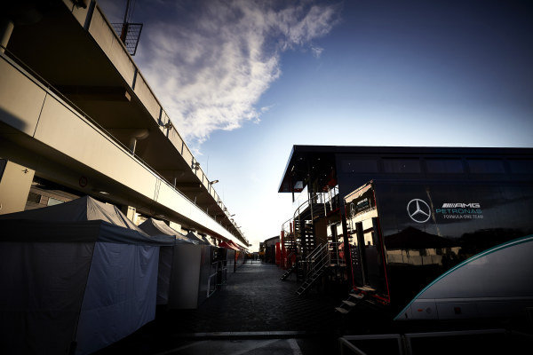 Mercedes-AMG Petronas F1 motorhome in the paddock