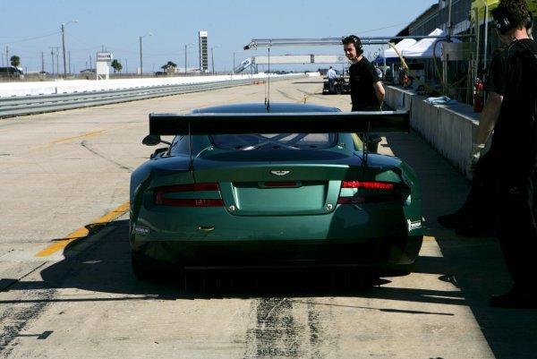 The rear of the brand new Aston Martin DBR9.American Le Mans Series Testing, Sebring, USA, 31 January - 3 February 2005.DIGITAL IMAGE