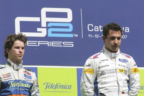 2007 GP2 Series. Round 2. Sunday RaceBarcelona, Spain. 13th May 2007. Timo Glock (GER, iSport International) and Javier Villa (ESP, Racing Engineering). Portrait. World Copyright: Andrew Ferraro/GP2 Series Media Sevice  ref: Digital Image ZP9O7164