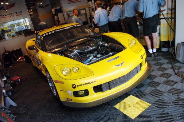 Le Mans-July 14, 2006-Corvette Racing Corvette C6R Garage-World Copyright-Dave Friedman/LAT Photographic 2006