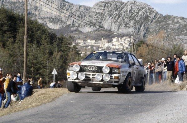 1983 World Rally Championship.Monte Carlo Rally, Monaco. 22-29 January 1983.Stig Blomqvist/Bjorn Cederberg (Audi Quattro A1), 3rd position.World Copyright: LAT PhotographicRef: 35mm transparency 83RALLY11