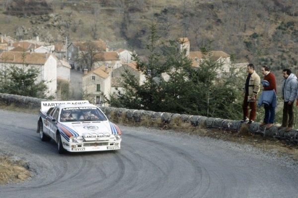 1983 World Rally Championship.Monte Carlo Rally, Monaco. 22-29 January 1983.Walter Rohrl/Christian Geistdorfer (Lancia Rally 037), 1st position.World Copyright: LAT PhotographicRef: 35mm transparency 83RALLY10