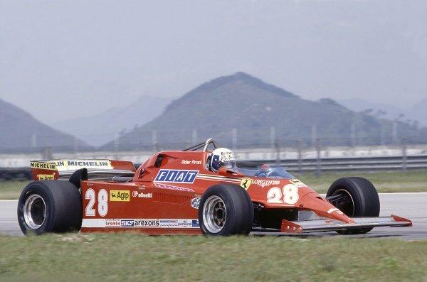 1981 Brazilian Grand Prix.Jacarepagua, Rio de Janeiro, Brazil. 27-29 March 1981.Didier Pironi (Ferrari 126C), retired.World Copyright: LAT PhotographicRef: 35mm transparency 81BRA21