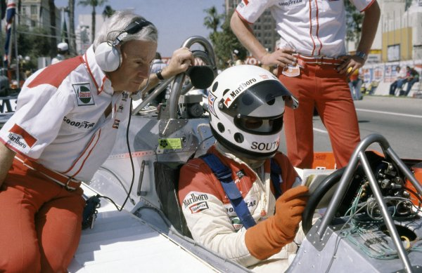 1980 United States Grand Prix West.Long Beach, California, USA. 28-30 March 1980.Stephen South (McLaren M29C-Ford Cosworth), did not qualify on his only appearance in F1. With team manager Teddy Mayer. Portrait in helmet.World Copyright: LAT PhotographicRef: 35mm transparency 80LB19