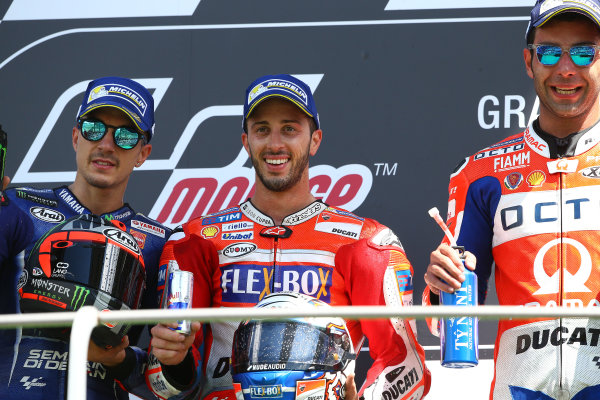2017 MotoGP Championship - Round 6 Mugello, Italy Sunday 4 June 2017 Podium: second place Maverick Vi?ales, Yamaha Factory Racing, Race winner Andrea Dovizioso, Ducati Team, third place Danilo Petrucci, Pramac Racing World Copyright: Gold & Goose Photography/LAT Images ref: Digital Image 674661