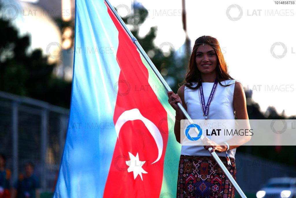 Baku City Circuit, Baku, Azerbaijan. Friday 23 June 2017. Grid Girl with the Azerbaijan flag. World Copyright: Andrew Hone/LAT Images ref: Digital Image _ONY9581