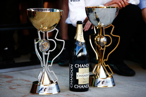 Sochi Autodrom, Sochi, Russia. Sunday 30 April 2017. The winner's trophies belonging to Valtteri Bottas, Mercedes AMG, and his team, alongside a champagne bottle. World Copyright: Andy Hone/LAT Images ref: Digital Image _ONZ2484