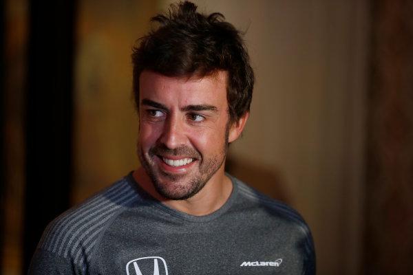 Bahrain International Circuit, Sakhir, Bahrain.  Wednesday 12 April 2017. Fernando Alonso announces his deal to race in the 2017 Indianapolis 500 in an Andretti Autosport run McLaren Honda car. World Copyright: Glenn Dunbar/LAT Images ref: Digital Image _31I6837