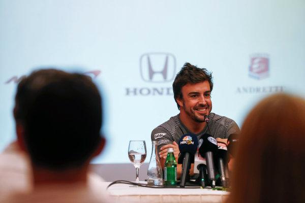 Bahrain International Circuit, Sakhir, Bahrain.  Wednesday 12 April 2017. Fernando Alonso announces his deal to race in the 2017 Indianapolis 500 in an Andretti Autosport run McLaren Honda car. World Copyright: Glenn Dunbar/LAT Images ref: Digital Image _31I6896