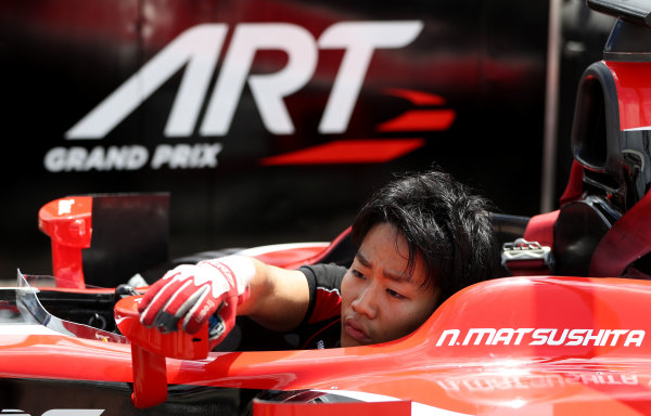 2017 FIA Formula 2 Round 2. Circuit de Catalunya, Barcelona, Spain. Thursday 11 May 2017. Nobuharu Matsushita, ART Grand Prix during pitstop practice Photo: Jed Leicester/FIA Formula 2. ref: Digital Image JL2_9892
