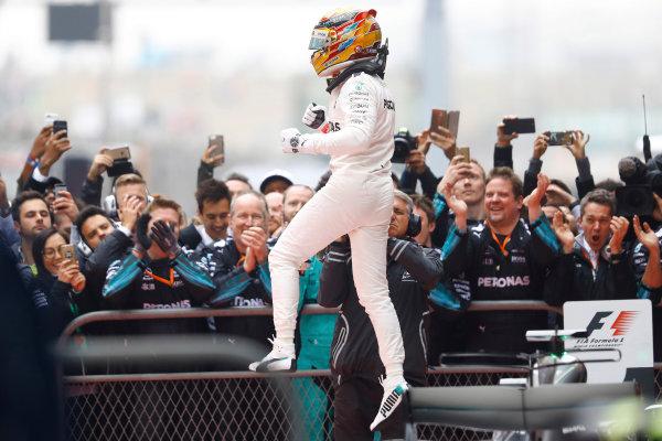 Shanghai International Circuit, Shanghai, China.  Sunday 09 April 2017.  Lewis Hamilton, Mercedes AMG, 1st Position, celebrates on arrival in Parc Ferme. World Copyright: Steven Tee/LAT Images  ref: Digital Image _O3I5305