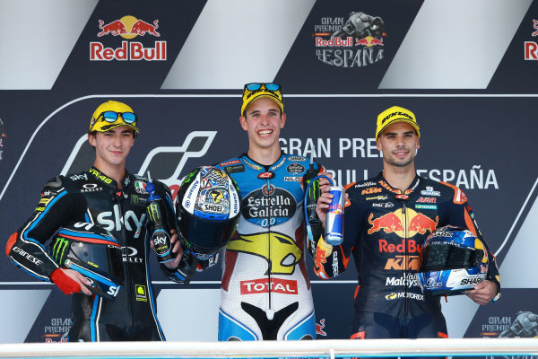 2017 Moto2 Championship - Round 4 Jerez, Spain Sunday 7 May 2017 Podium: race winner Alex Marquez, Marc VDS, second place Francesco Bagnaia, Sky Racing Team VR46, third place Miguel Oliveira, Red Bull KTM Ajo World Copyright: Gold & Goose Photography/LAT Images ref: Digital Image 668742