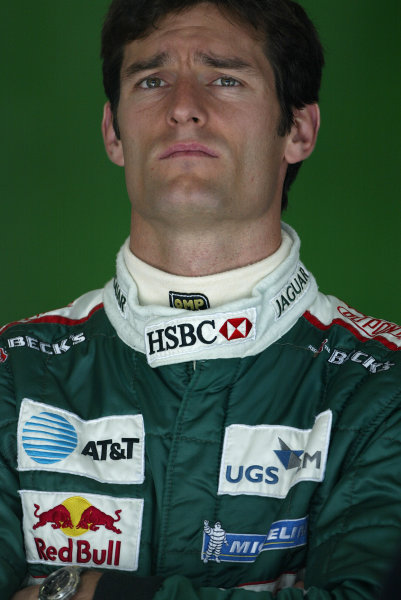 2004 European Grand Prix - Friday Practice,Nurburgring, Germany. 28th May 2004 Mark Webber, Jaguar R5, portrait.World Copyright: Steve Etherington/LAT Photographic ref: Digital Image Only