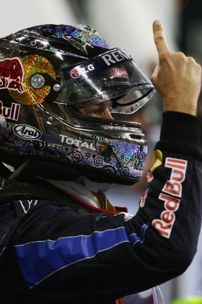 Race winner and 2010 World Champion Sebastian Vettel (GER) Red Bull Racing celebrates in parc ferme. Formula One World Championship, Rd 19, Abu Dhabi Grand Prix, Race, Yas Marina Circuit, Abu Dhabi, UAE, Sunday 14 November 2010.
