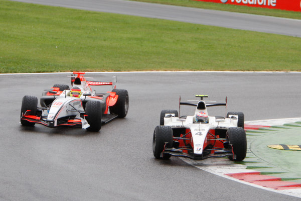 Autodromo di Monza, Monza, Italy 14th September.Sunday Race.  Romain Grosjean (FRA, ART Grand Prix) leads Roldan Rodriguez (ESP, Fisichella Motor Sport International). Action.World Copyright: Glenn Dunbar/GP2 Series Media Service. ref: Digital Image _O9T7801