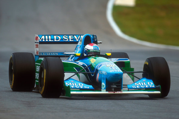 Interlagos, Sao Paulo, Brazil.25-27 March 1994.Jos Verstappen (Benetton B194 Ford). He exited the race after he was hit by Irvine and then barrel-rolled over the top of Brundle's car in a horrifyingly fast crash. This was not the Grand Prix debut that he wanted.Ref-94 BRA 24.World Copyright - LAT Photographic