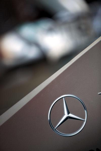 Circuit de Catalunya, Barcelona, Spain 19th May 2011 Mercedes Badge. Logos. World Copyright: Steve Etherington/LAT Photographic ref: Digital Image SNE23555