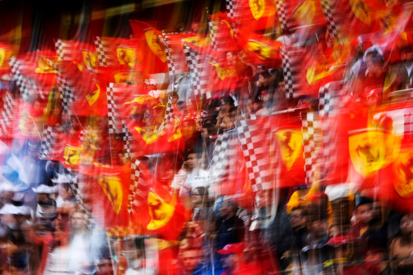 Shanghai International Circuit, Shanghai, China. Sunday 20 April 2014. Ferrari flags in the crowd. World Copyright: Steven Tee/LAT Photographic. ref: Digital Image _L4R1085