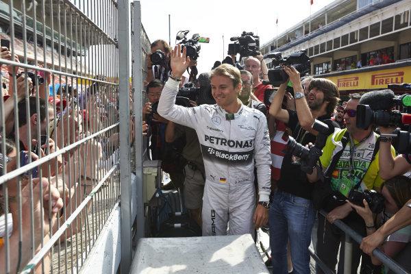Circuit de Catalunya, Barcelona, Spain. Sunday 11 May 2014. Nico Rosberg, Mercedes AMG, greets the fans. World Copyright: Steve EtheringtonLAT Photographic. ref: Digital Image SNE25512 copy